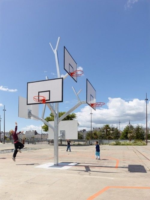 I love this idea for a school playground. Even better than an adjustable hoop.