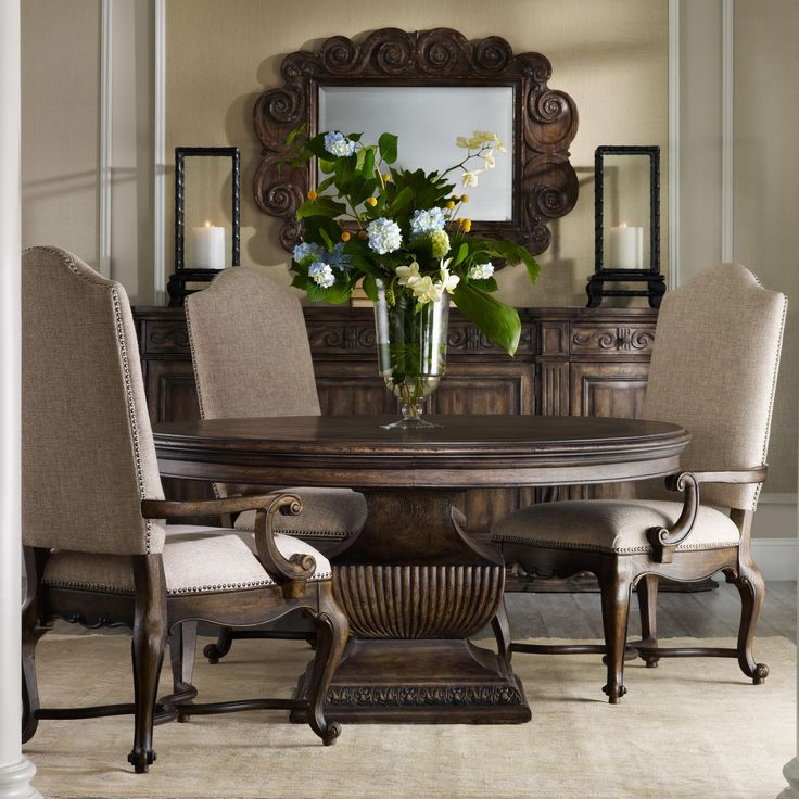 Rhapsody 60 round pedestal table and upholstered chair for Beautiful glass dining room tables
