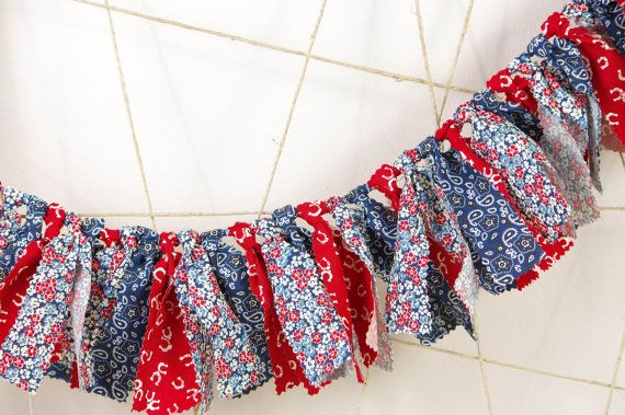 Cowboy Cowgirl Birthday Banner - Red, Blue and White - County Fair Birthday - Photoshoot Prop - Garland First Birthday Party Decor
