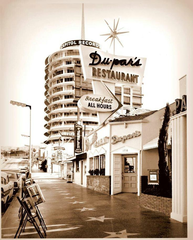 Hollywood Walk of Fame. Vine Street, Capital Records, Dupar's Restaurant in Los Angeles. 1960s.