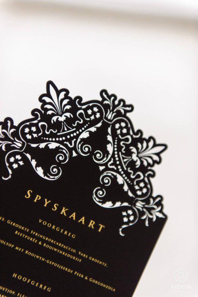 Elize & Stefan Real Wedding Showcase - The Aleit Group  Black and gold wedding. Wedding stationery. Menu design. Secret Diary. Laurent Venue. South Africa.