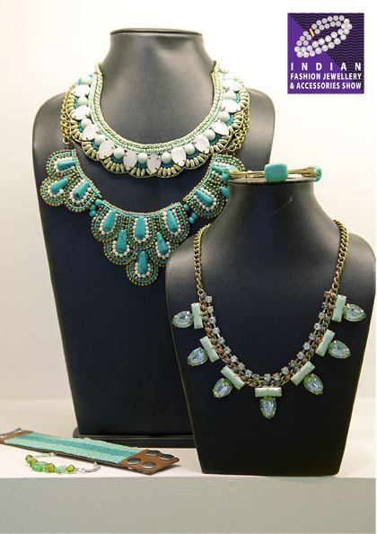 Embroidered beaded patterns in neck adornments, bracelets, cuffs and more…..at The IFJAS, 2016 #fashion #jewellery #tradeshow #ifjas