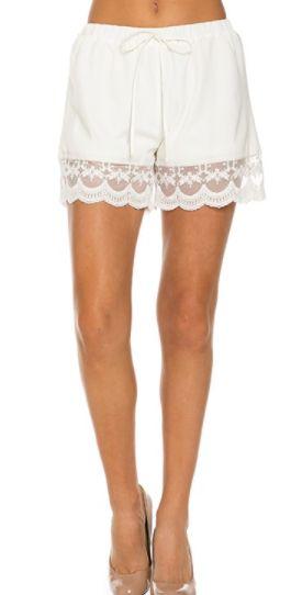 Ivory Lace Hem Shorts (S-L)