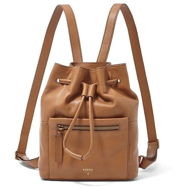 Fossil Vickery Drawstring Backpack (215 CAD) ❤ liked on Polyvore featuring bags, backpacks, backpack, camel, fossil bags, drawstring backpack, day pack backpack, slouch backpack and slouch bag