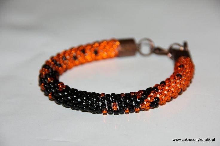 Cieniowana bransoletka pomarańczowo – czarna