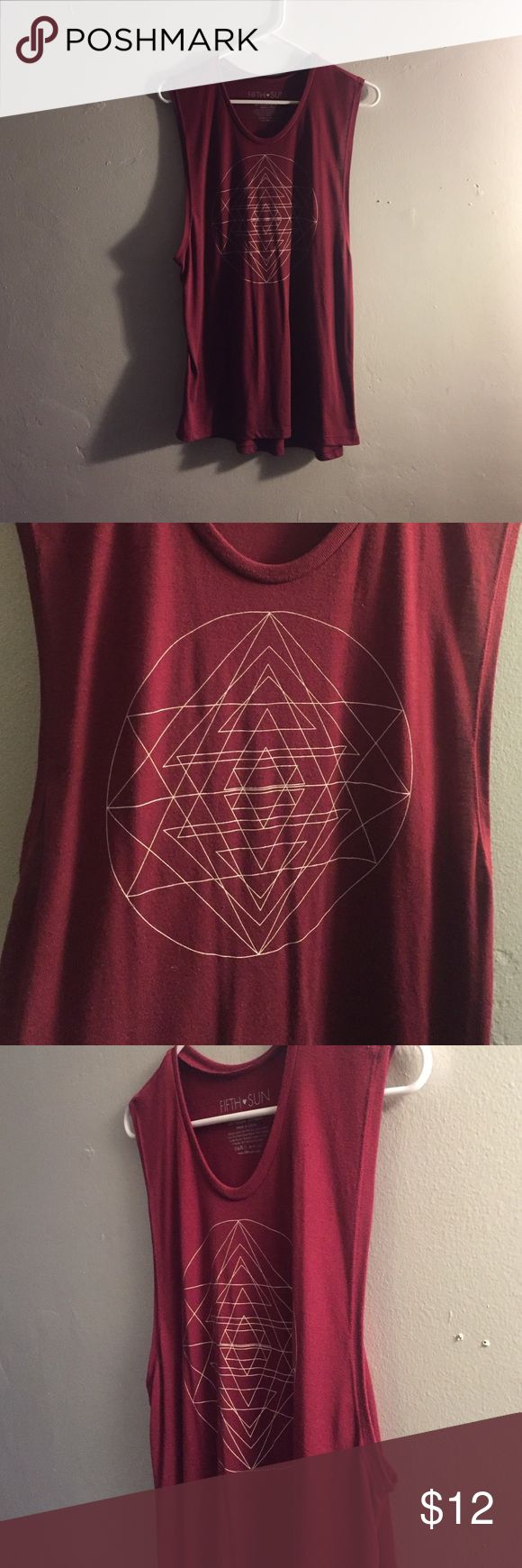 Red muscle shirt with design Geometric design on front. Longer red tunic. Tops Muscle Tees