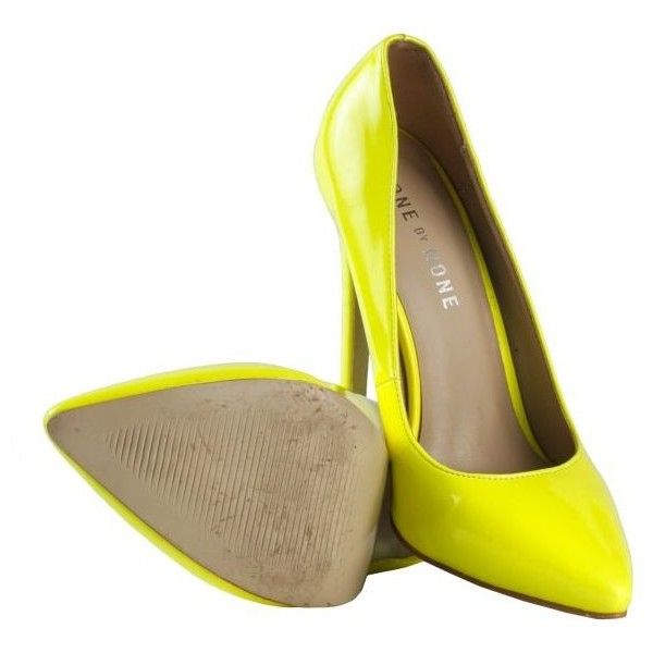 Done By None Neon Yellow Pencil Heel Pumps ❤ liked on Polyvore featuring shoes, pumps, pencil heel shoes, fluorescent yellow shoes, neon yellow pumps and neon yellow shoes