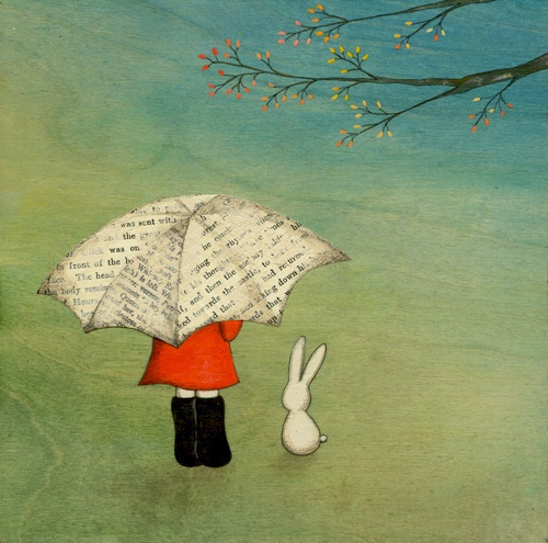 Tomorrow No. 6 by naokosstoop. Blossoms, newsprint umbrella, red jacket, white bunny, childhood.