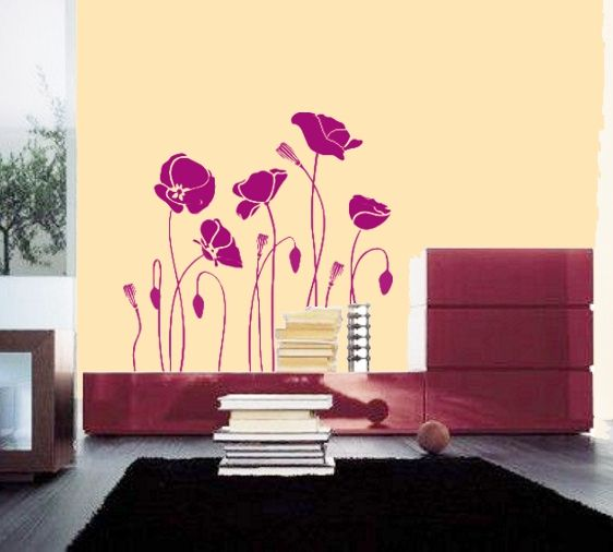 Buy online this huge flowers wall sticker for inspiration. Delivered as one oiece, no need to reaarange the design.