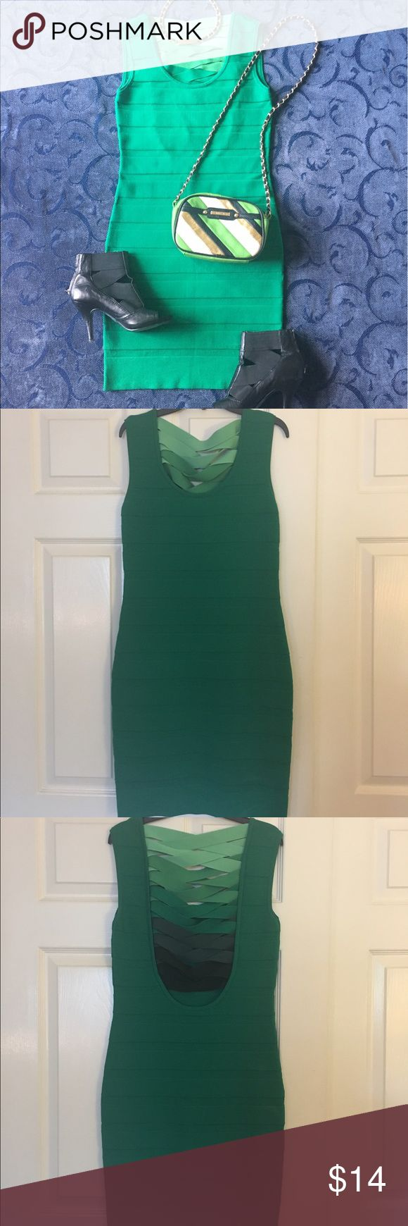 WOW couture bandage dress 👗 💚 Gorgeous green bandage dress size Large with scoop neckline and ombré criss cross strap details in back.  Tiny snag near bottom is pictured, the thread is on the inside of dress.  Never worn out, would be perfect for a girls night out or if you were going for a sexy Leprechaun look 👀! WOW couture Dresses Mini