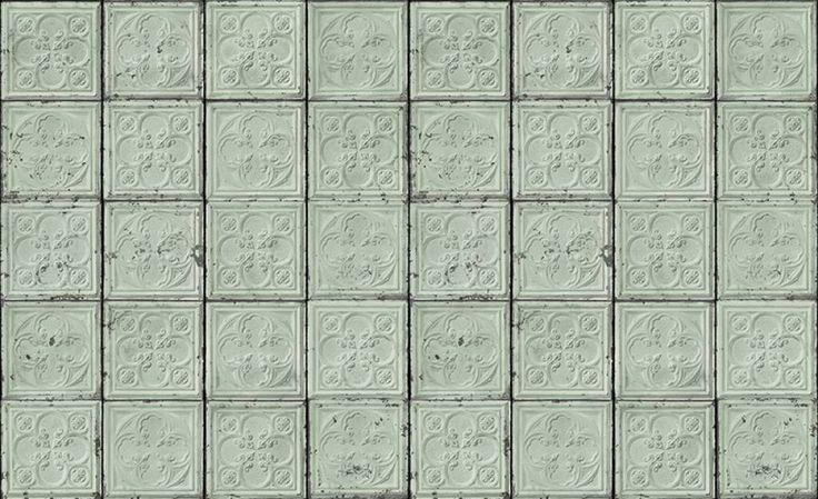 Tegel behang Tin-05 met bloemmotief in mint van Brooklyn Tins. Geen behangtafel nodig voor dit superhippe behang! Geeft je muren een ouderwetse twist!