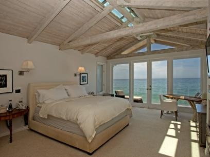 malibu beach house with white wooded ceiling beams and skylights... <3