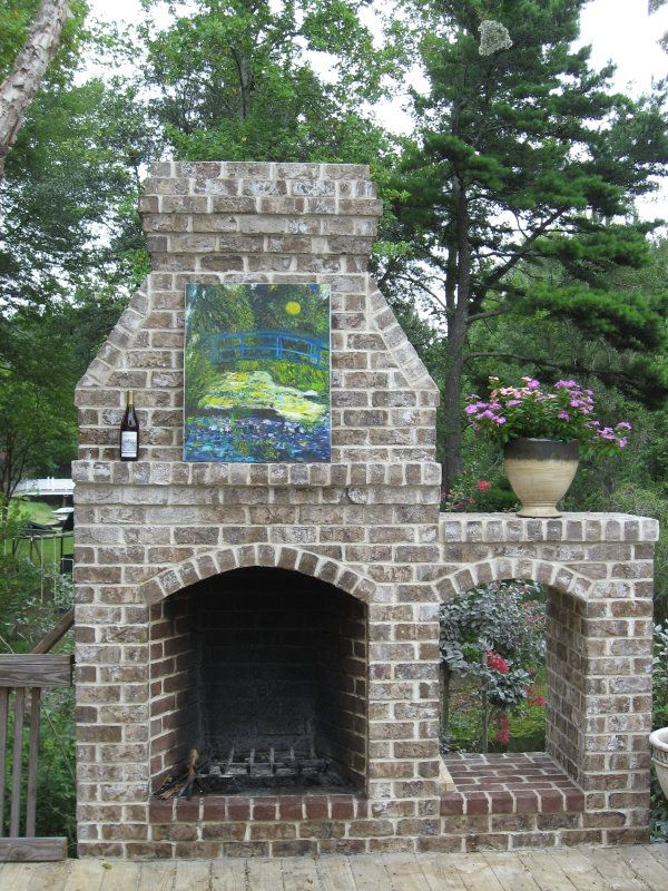 Outdoor Brick Fireplace Dad Do This Please Pinterest