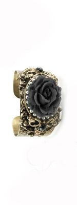 Vintage Inspired Bracelets by Ollipop- Black and Pearls Rose Cuff