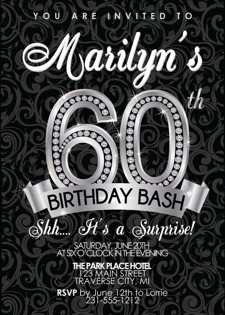 17 best ideas about 60th birthday invitations on pinterest   75th, Birthday invitations