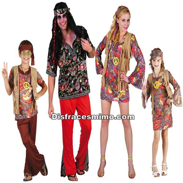 DisfracesMimo, disfraz de grupo y familia de hippies.Con estos disfraces de hippie para familias y grupos, volverás a aquellos maravillosos años en los que primaba el lema paz y amor.Este disfraz es ideal para tus fiestas temáticas de disfraces hippies Años 60,70 y 80 para familias y grupos.