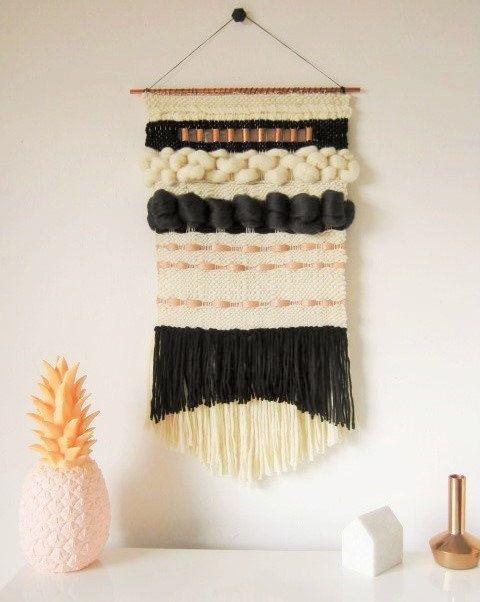 Big Woven Wall Hanging, Modern handwoven tapestry in black, cream, copper/Weaving/BeforeLouRock/Fiber Art/Textile Wall Art Woven Home Decor