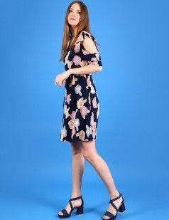 Off shoulder flare dress in floral - Multicolour