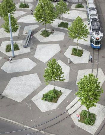 public space concrete pattern