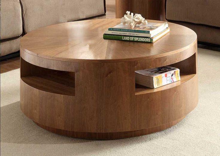 Couchtisch Holz Rund Aus Natrliche Walnuss Inklusive Ablageboden Fr Formschn Moderne Runder Design
