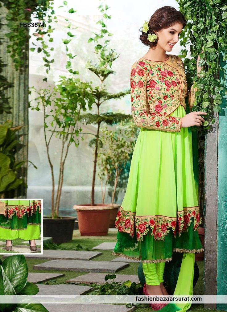 Liril Green Color Georgette Fabric Anarkali Suit