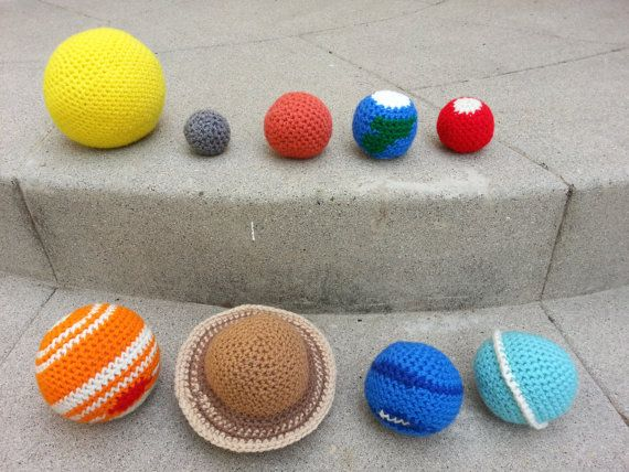 Crochet Space Solar System, Stuffed Plush Geek Toy, Made to Order by Science in Stitches on Etsy