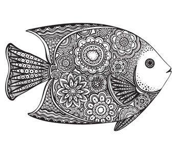 zentangle: Dibujado a mano peces de vectores con elementos florales en el estilo de dibujo en blanco y negro. Modelo para el libro de colorear