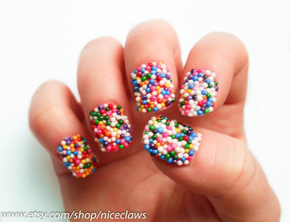 Candy Sprinkle Nails, Fake Nails, Bubblegum, Gumball Press on Nails, 3D Nails, Candy Nail Art, Short on Etsy, $20.00