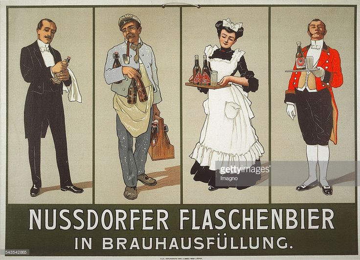 Anonymous. Poster for Nußdorfer bottles beer in brewery filling. About 1905. Colour lithograph. Printing Emil M. Engel / Vienna. .