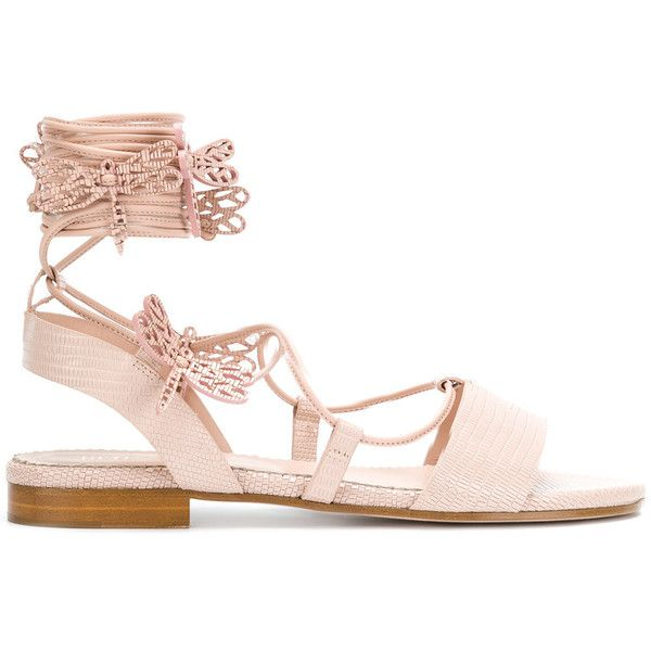 Red Valentino dragonfly rope sandals ($725) ❤ liked on Polyvore featuring shoes, sandals, pink shoes, rope sandals, red valentino shoes, pink open toe shoes and dragonfly shoes