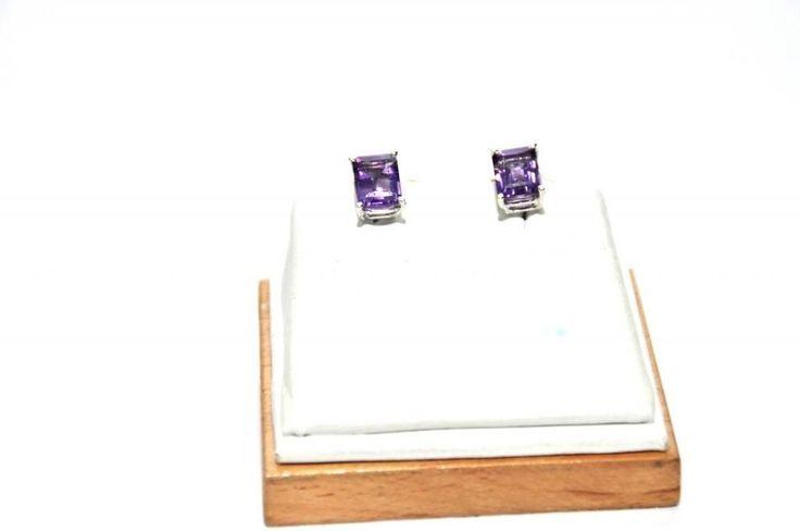 Natural Amethyst 4.00Ct Square Gemstone 925 Sterling Silver Women Tops #Handmade #Stud