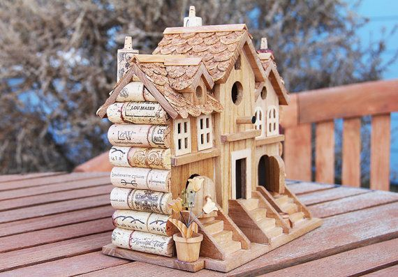 Three Townhouses wine cork birdhouse by CarefullyCorked on Etsy