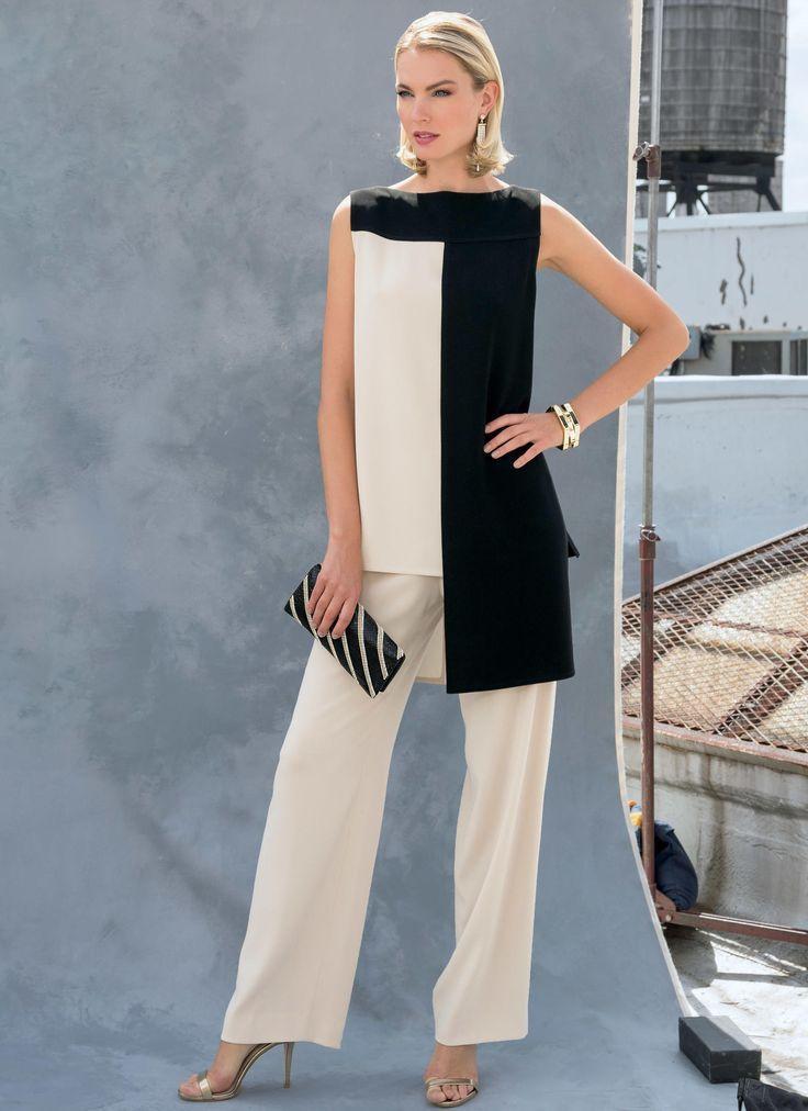Patron De Costura Para Misses Tunic Pantalones Vogue Pattern 1581 Tunic Para Mujer Pantalones In 2020 Hosenanzug Brautmutter Stylische Kleidung Kleidung