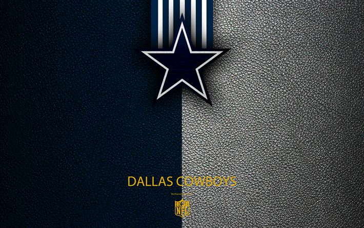 Download wallpapers Dallas Cowboys, 4k, American football, logo, emblem, Arlington, Texas, USA, NFL, blue white leather texture, National Football League, Eastern Division