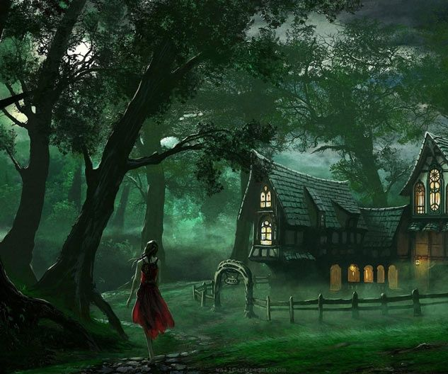 Cottage in the Woods | Writing Prompt  Tell us a story about the woman in the red dress.