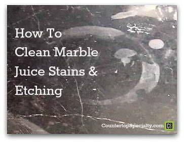 Tried-n-true DIY solutions for cleaning marble juice stains on countertops, tables, tile. Restoring marble etching & removing stains from lime, apple, orange juice, lemon and even aloe vera juice. http://www.countertopspecialty.com/cleaning-marble-juice-stains.html