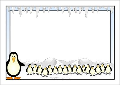 Penguin A4 page borders (SB9290) - SparkleBox