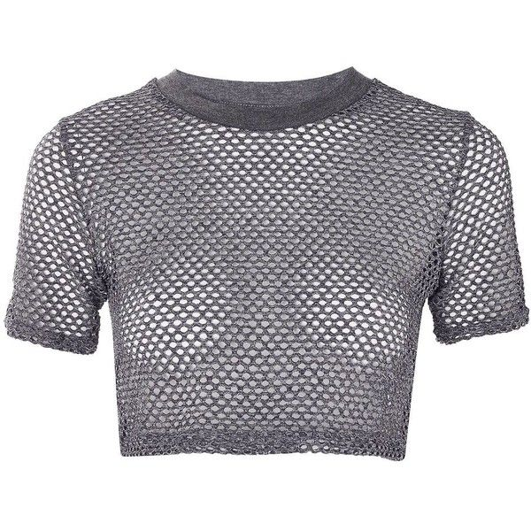 TopShop Airtex Crop T-Shirt ($12) ❤ liked on Polyvore featuring tops, t-shirts, topshop, grey marl, sports crop tops, gray t shirt, polyester crop tops, gray tees and gray top