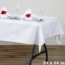 "54"" WHITE Wholesale Seamless Polyester Square Linen Tablecloth For Wedding Banquet Party Restaurant"