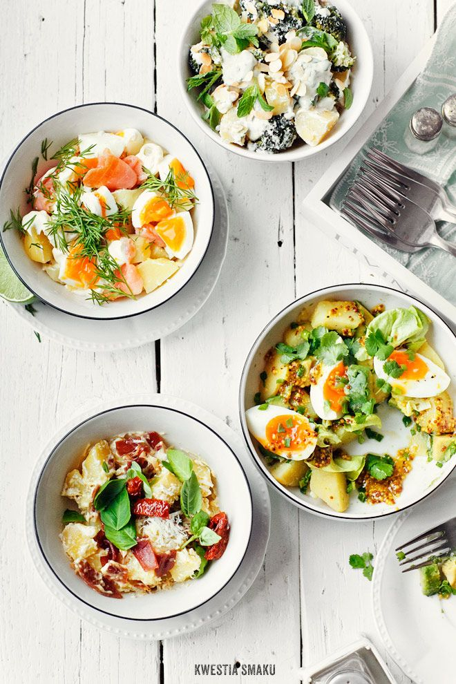 4 types of potato salad (last two with cheese, though but can be modified)