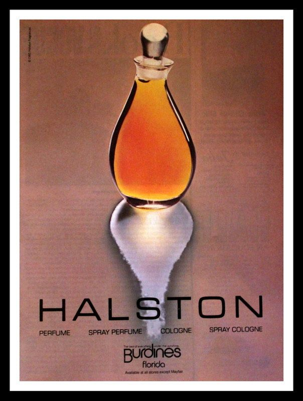 1984 Halston Perfume and Cologne Ad - Wall Art - Decor - Retro Vintage Fragrance Advertising ad advert advertisement advertising snowfirecandleco paper ephemera for him for her 1980s 80s eighties gift 10.00 USD #goriani