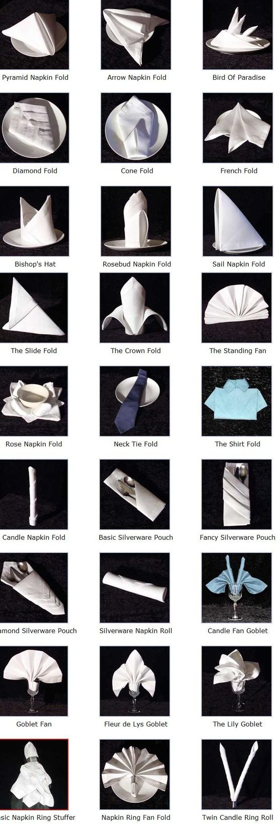 fold a napkin----SO COOL A CHART STEP BY STEP ON NAPKIN DESIGN FOLDING