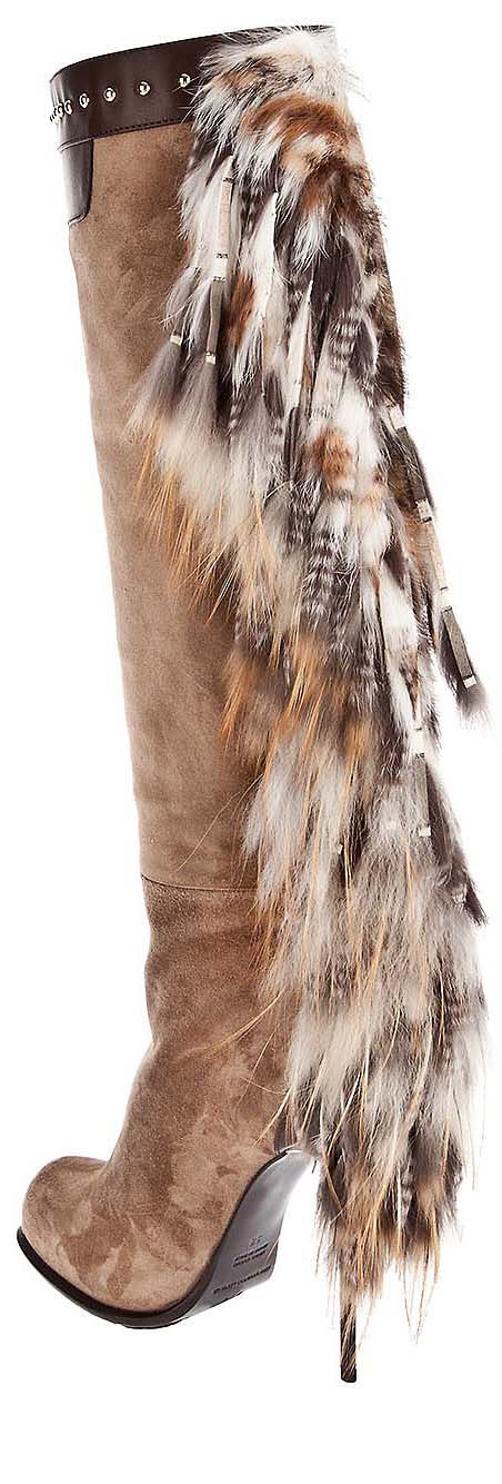 Gianmarco Lorenzi knee high heel fur boots tan white beige brown adorned leather studded suede