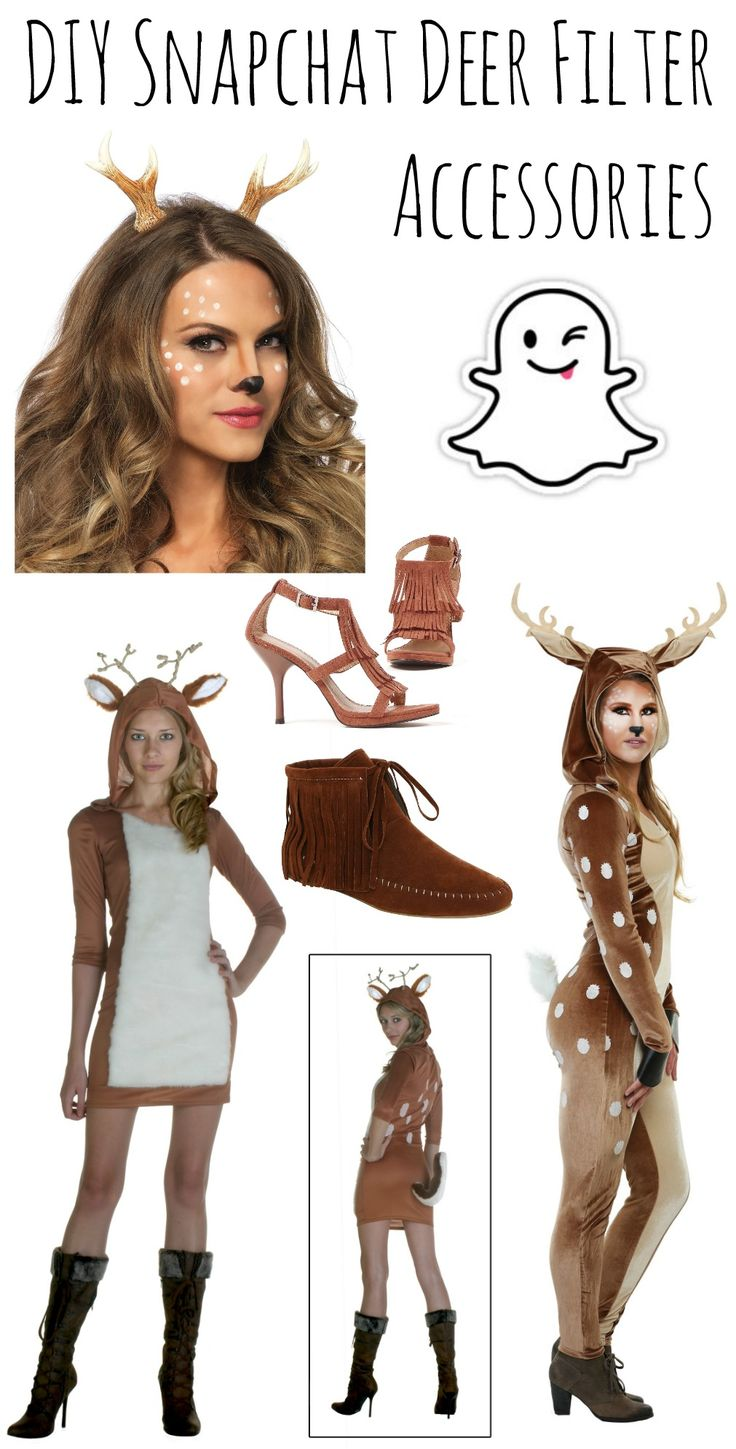 DIY Snapchat Deer Filter Accessories- Find ALL these fantastic deer accessories at HalloweenCostumes.com for your best costume yet :)