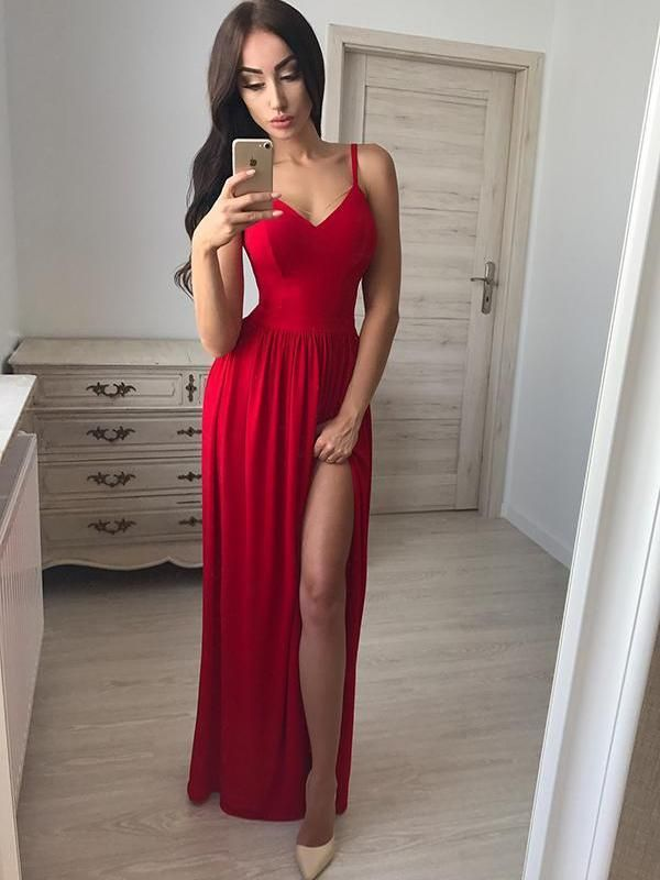 1e3a25e68127 Custom Simple Sexy Red Side Slit Long Evening Prom Dresses, 17690 ...