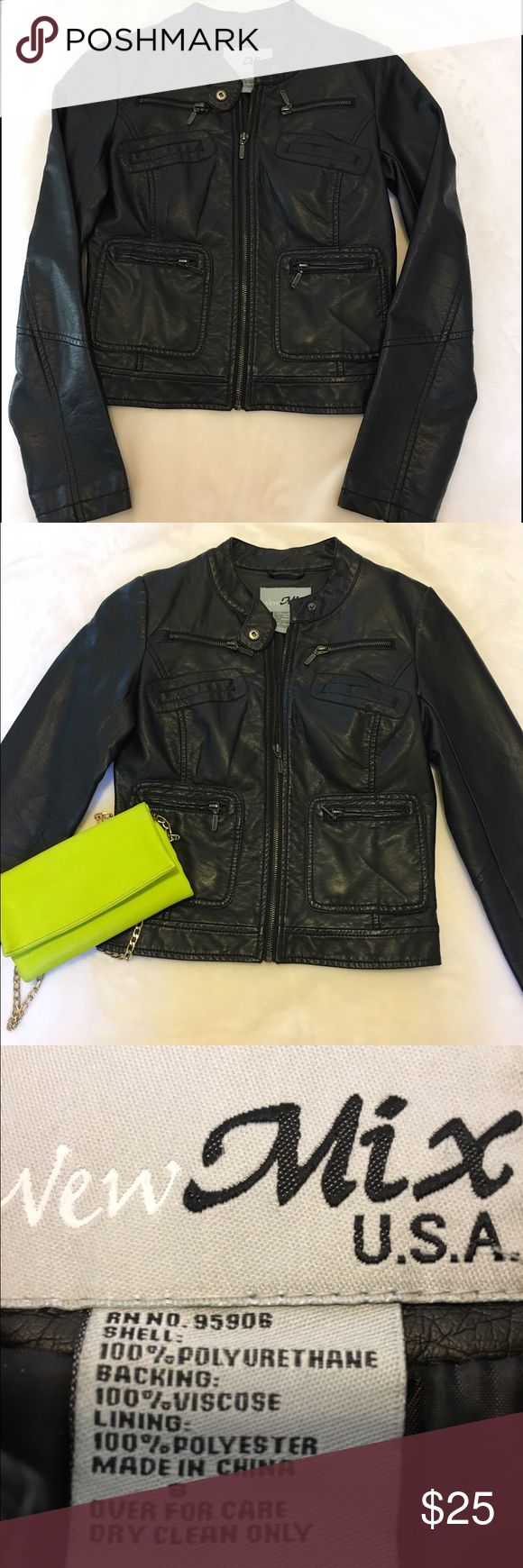 NWOT Black faux leather jacket Edgy black faux leather jacket, NWOT. Was given as a gift but I already have too many similar ones & I'm trying to clean out my closet :) This really is beautiful, I'll be sad to see it go! Mix Jackets & Coats