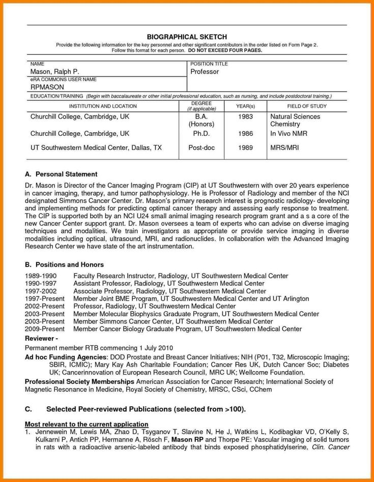 Nih Biosketch Template Doc Digitalhiten Inside Current Nih Biosketch Template 54243 Word Template Design Word Template Resume Template Word