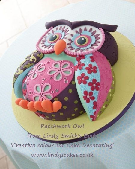 Patchwork Owl cake by Lindy Smith from her book Creative colour for Cake Decorating
