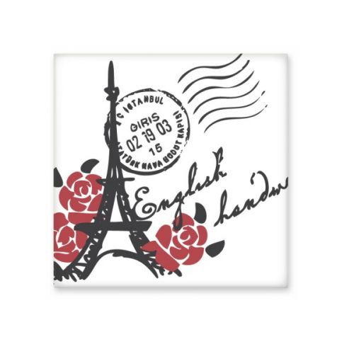 Eiffel Tower Roses France Paris Stamp Style Ceramic Bisque Tiles for Decorating Bathroom Decor Kitchen Ceramic Tiles Wall Tiles #CeramicTiles #EiffelTower #CeramicBisqueTiles #Roses #Homedecal #France #Walltiles #Country #Bathroomdecoration #City #Kitchendecoration #Culture
