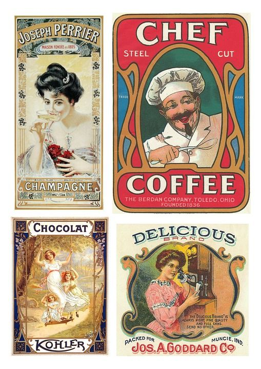 Etiketten, Vintage, Voedsel, Producten, Collage
